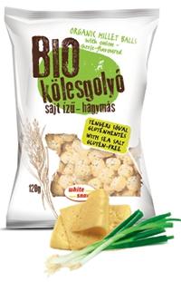 White Snack BIO Kölesgolyó sajt ízű-hagymás, ellenőrzött ökológiai gazdálkodásból 120g
