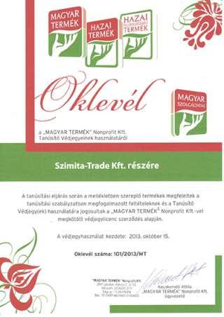 Magyar termék védjegyhasználói oklevél