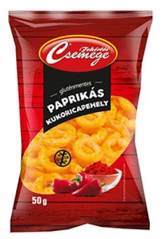Fehértói Csemege gluténmentes paprikás kukoricapehely, karika 50g