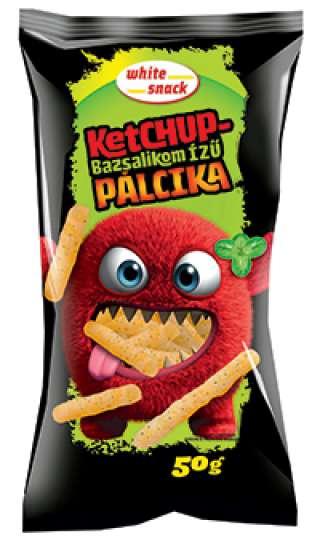 White Snack Ketchup-bazsalikom ízű Pálcika, ketchup-bazsalikom ízű kukoricapehely 50g