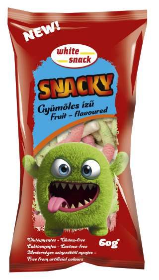 White Snack SNACKY gyümölcs ízű gl. és laktózmentes 60g 150dpi